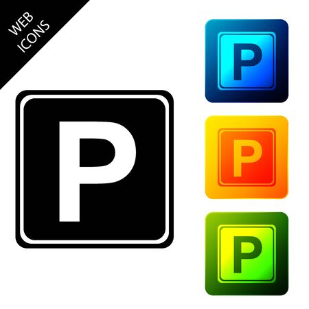 Parking sign icon isolated. Street road sign. Set icons colorful square buttons. Vector Illustration 일러스트