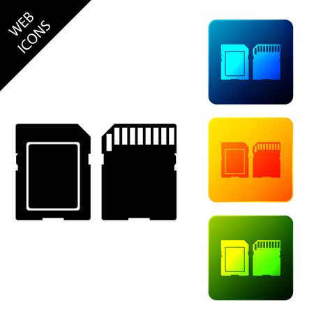 SD card icon isolated. Memory card. Adapter icon. Set icons colorful square buttons. Vector Illustration