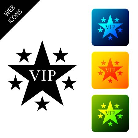 Star VIP with circle of stars icon isolated. Set icons colorful square buttons. Vector Illustration