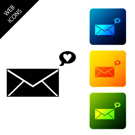 Envelope with Valentine heart icon isolated. Message love. Letter love and romance. Set icons colorful square buttons. Vector Illustration