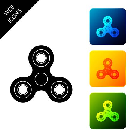 Fidget spinner icon isolated. Stress relieving toy. Trendy hand spinner. Set icons colorful square buttons. Vector Illustration