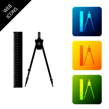 Ruler and drawing compass icon isolated. Drawing professional instrument. Geometric equipment. Education sign. Set icons colorful square buttons. Vector Illustration 일러스트