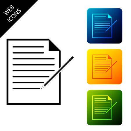 Blank notebook and pencil with eraser icon isolated. Paper and pencil. Set icons colorful square buttons. Vector Illustration