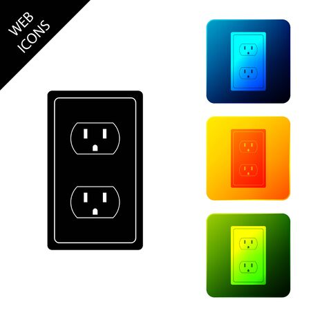 Electrical outlet in the USA icon isolated. Power socket. Set icons colorful square buttons. Vector Illustration Stock Vector - 129690624
