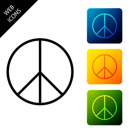 Peace sign icon isolated. Hippie symbol of peace. Set icons colorful square buttons. Vector Illustration