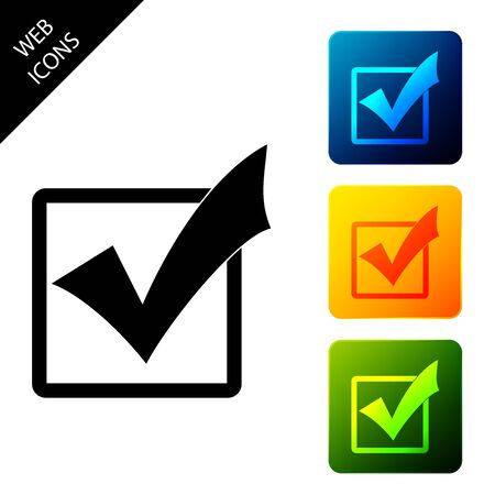 Check mark in a box icon isolated. Tick symbol. Check list button sign. Set icons colorful square buttons. Vector Illustration