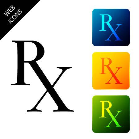 Medicine symbol Rx prescription icon isolated. Set icons colorful square buttons. Vector Illustration
