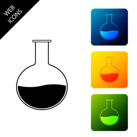 Test tube and flask - chemical laboratory test icon isolated. Laboratory glassware sign. Set icons colorful square buttons. Vector Illustration