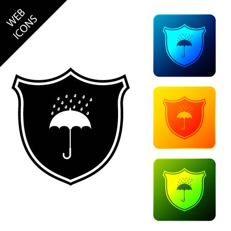 Waterproof icon isolated. Shield and umbrella. Protection, safety, security concept. Water resistant symbol. Set icons colorful square buttons. Vector Illustration