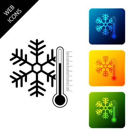 Thermometer with snowflake icon isolated. Set icons colorful square buttons. Vector Illustration