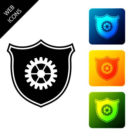 Shield with gear icon isolated. Set icons colorful square buttons. Vector Illustration 일러스트
