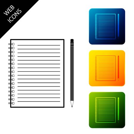 Blank notebook and pencil with eraser icon isolated. Set icons colorful square buttons. Vector Illustration