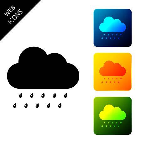Cloud with rain icon isolated. Rain nimbus cloud precipitation with rain drops. Set icons colorful square buttons. Vector Illustration