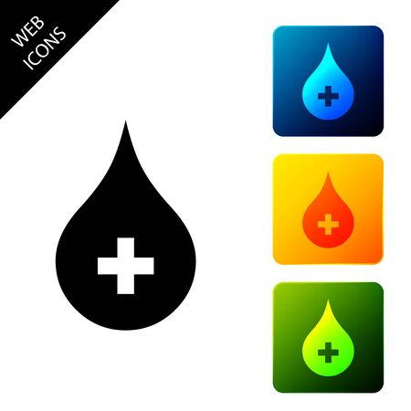 Blood drop icon isolated. Donate drop blood with cross sign. Donor concept. Set icons colorful square buttons. Vector Illustration