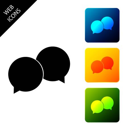 Blank speech bubbles icon isolated. Set icons colorful square buttons. Vector Illustration