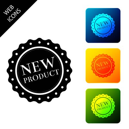 New product label, badge, seal, sticker, tag, stamp icon isolated. Set icons colorful square buttons. Vector Illustration 일러스트