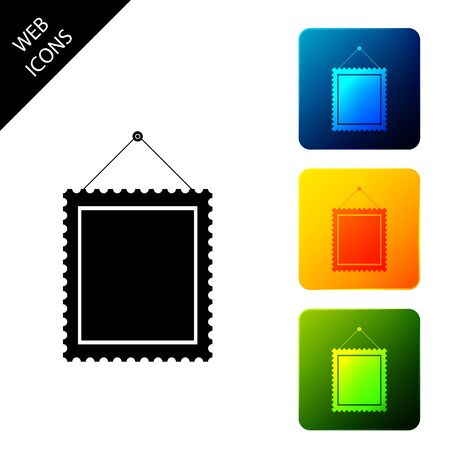 Rectangular picture frame hanging on the wall icon isolated on white background. Set icons colorful square buttons. Vector Illustration Illustration