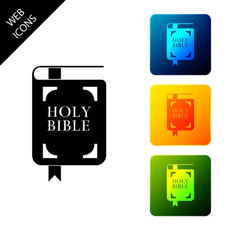 Holy bible book icon isolated. Set icons colorful square buttons. Vector Illustration