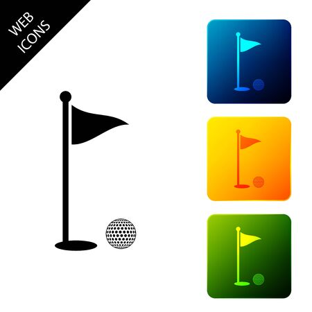 Golf ball and hole with flag icon isolated. Golf course. Ball and flagstick in hole. Sport concept. Set icons colorful square buttons. Vector Illustration 일러스트