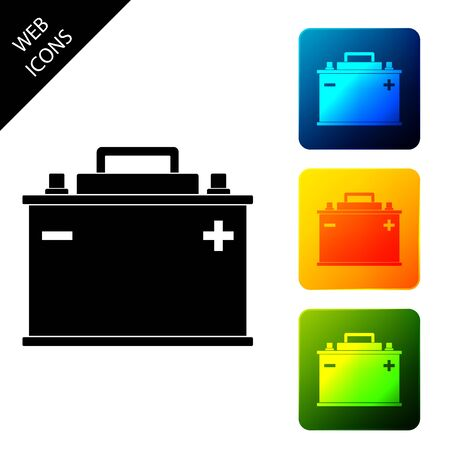 Car battery icon isolated. Accumulator battery energy power and electricity accumulator battery. Set icons colorful square buttons. Vector Illustration