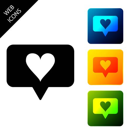 Like and heart icon isolated. Counter Notification Icon. Follower Insta. Set icons colorful square buttons. Vector Illustration