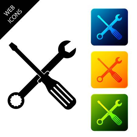 Spanner and screwdriver tools icon isolated. Service tool symbol. Set icons colorful square buttons. Vector Illustration 일러스트