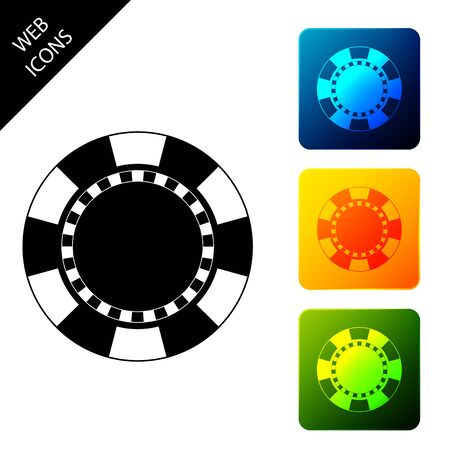 Casino chip icon isolated. Set icons colorful square buttons. Vector Illustration
