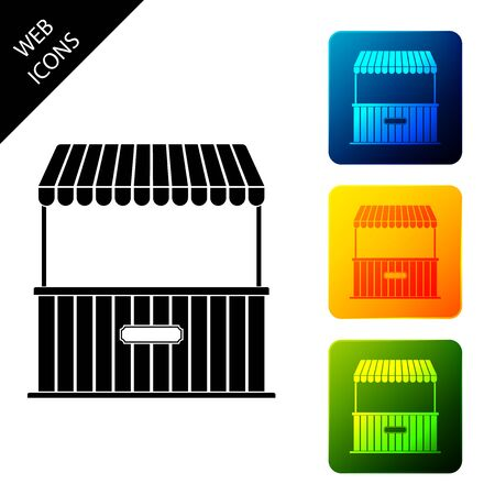 Street stall with awning and wooden rack icon isolated. Kiosk with wooden rack. Set icons colorful square buttons. Vector Illustration