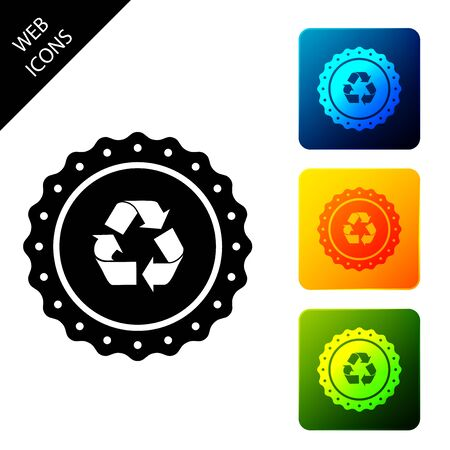 Recycle symbol label icon isolated. Environment recycling symbol. Set icons colorful square buttons. Vector Illustration