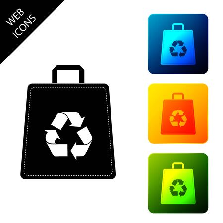 Paper shopping bag with recycle icon isolated. Bag with recycling symbol. Set icons colorful square buttons. Vector Illustration