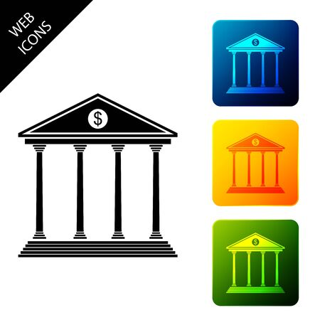 Bank building icon isolated. Set icons colorful square buttons. Vector Illustration 일러스트