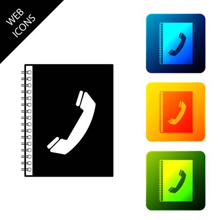 Phone book icon isolated. Address book. Telephone directory. Set icons colorful square buttons. Vector Illustration