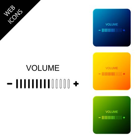 Volume adjustment icon isolated. Set icons colorful square buttons. Vector Illustration