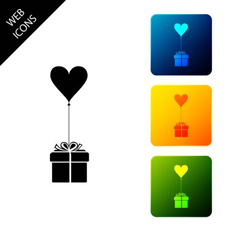 Gift with balloon in shape of heart icon isolated. Valentines day, wedding, birthday card. Set icons colorful square buttons. Vector Illustration 일러스트