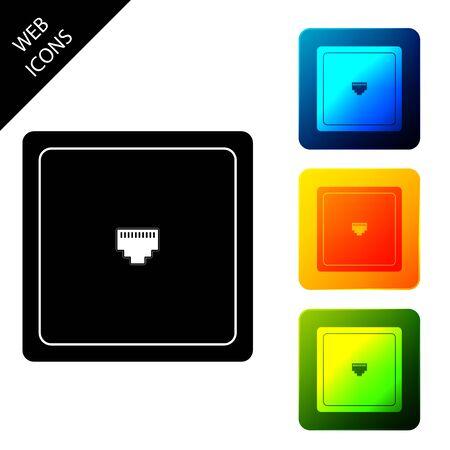 Network port - cable socket icon isolated. LAN port icon. Local area connection icon. Set icons colorful square buttons. Vector Illustration