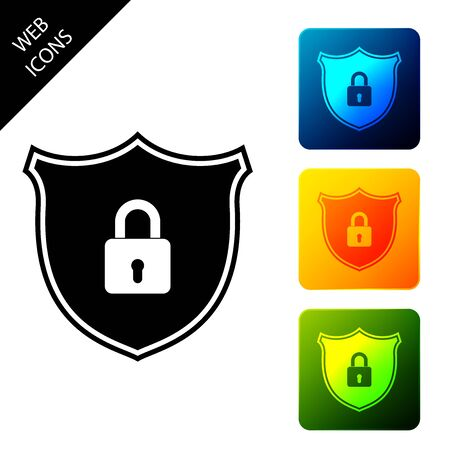 Shield security with lock icon isolated. Protection, safety, password security. Firewall access privacy sign. Set icons colorful square buttons. Vector Illustration