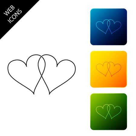 Two Linked Hearts icon isolated. Heart two love sign. Romantic symbol linked, join, passion and wedding. Valentine day symbol. Set icons colorful square buttons. Vector Illustration