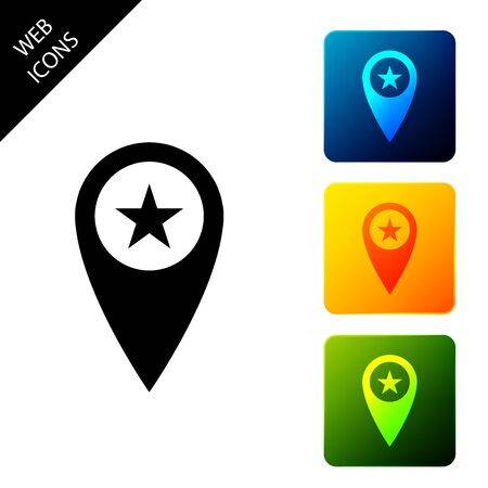Map pointer with star icon isolated. Star favorite pin map icon. Map markers. Set icons colorful square buttons. Vector Illustration Ilustração