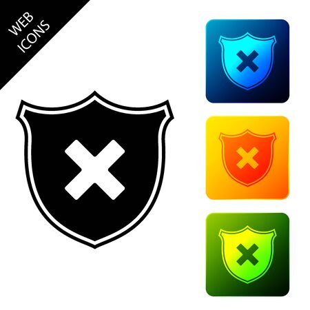 Shield and cross x mark icon isolated. Denied disapproved sign. Protection, safety, security concept. Set icons colorful square buttons. Vector Illustration