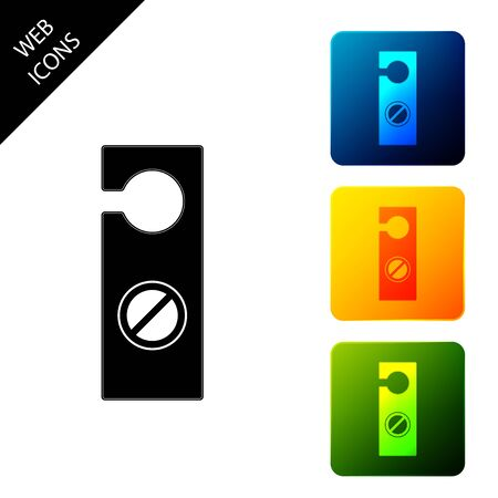 Please do not disturb icon isolated. Hotel Door Hanger Tags. Set icons colorful square buttons. Vector Illustration Banque d'images - 129690917
