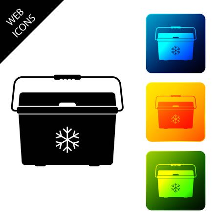 Cooler bag icon isolated. Portable freezer bag. Handheld refrigerator. Set icons colorful square buttons. Vector Illustration