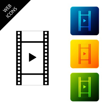 Play Video icon isolated. Film strip with play sign. Set icons colorful square buttons. Vector Illustration Archivio Fotografico - 129690919