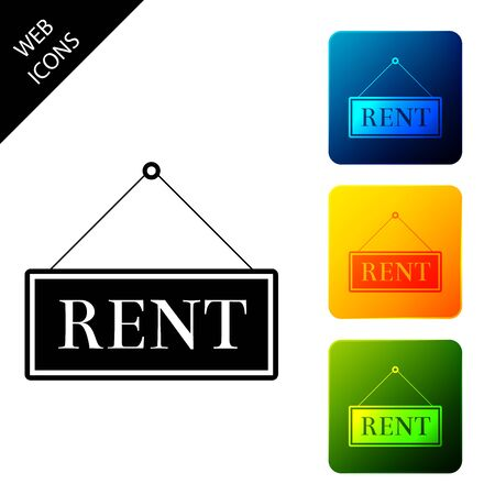 Hanging sign with text Rent icon isolated. Set icons colorful square buttons. Vector Illustration