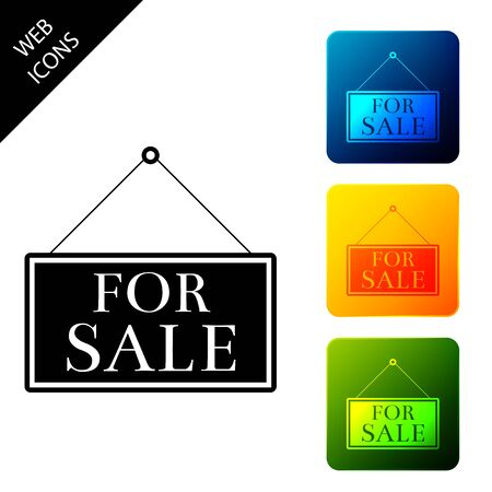 Hanging sign with text For Sale icon isolated. Set icons colorful square buttons. Vector Illustration