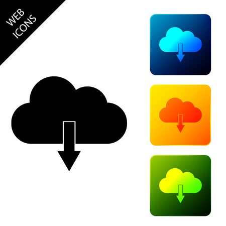 Cloud download icon isolated. Set icons colorful square buttons. Vector Illustration