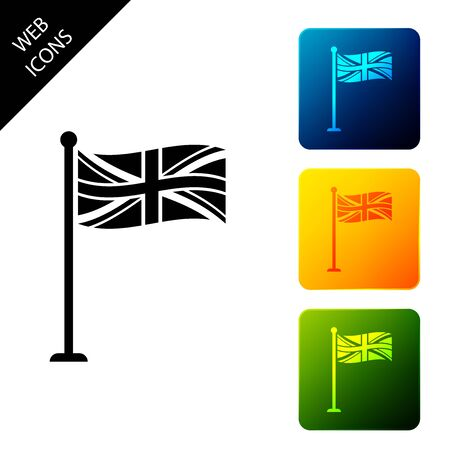 Flag of Great Britain on flagpole icon isolated. UK flag sign. Official United Kingdom flag sign. British symbol. Set icons colorful square buttons. Vector Illustration 일러스트