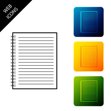 Notebook icon isolated. Spiral notepad icon. School notebook. Writing pad. Diary for business. Notebook cover design. Office stationery items. Set icons colorful square buttons. Vector Illustration 일러스트