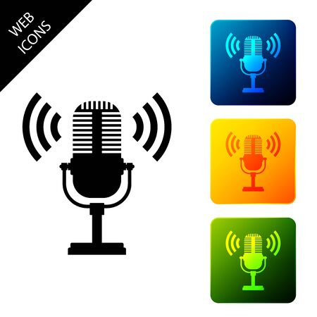 Microphone icon isolated. On air radio mic microphone. Speaker sign. Set icons colorful square buttons. Vector Illustration 일러스트