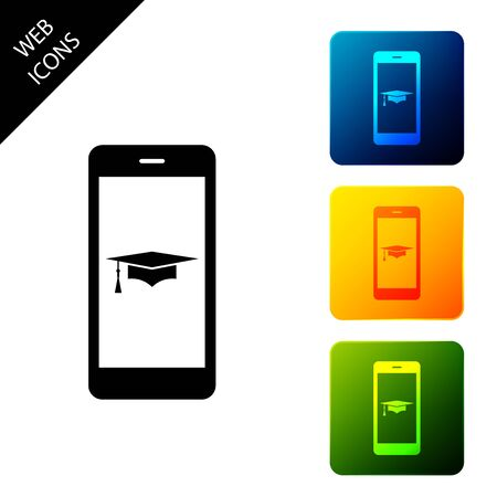 Graduation cap and smartphone icon. Online learning or e-learning concept icon isolated on white background. Set icons colorful square buttons. Vector Illustration