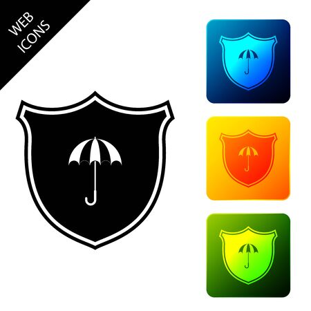 Waterproof icon isolated on white background. Shield and umbrella. Water protection sign. Water resistant symbol. Set icons colorful square buttons. Vector Illustration Ilustracja